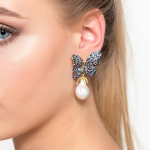 Baroque Pearl Multi Coloured Butterfly Earrings Gold