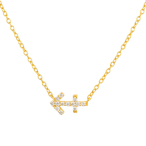 Diamond Zodiac Necklace Gold Sagittarius