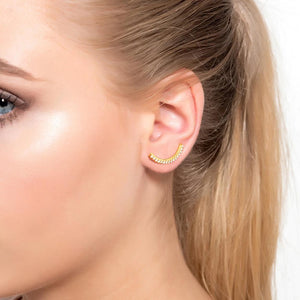 Diamond Arc Ear Climber Silver
