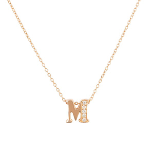 Diamond Initial Letter Pendant Necklace Rose Gold M