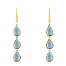 Sorrento Triple Drop Earring Gold Blue Topaz