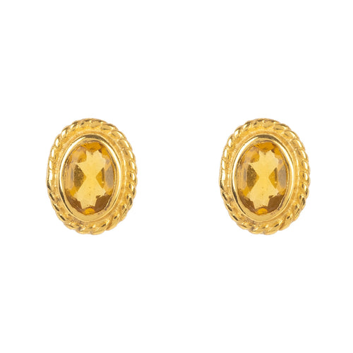 Gold Gemstone Birthstone Stud Earring  November Citrine