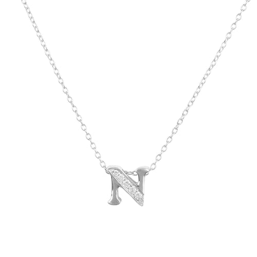 Diamond Initial Letter Pendant Necklace Silver N