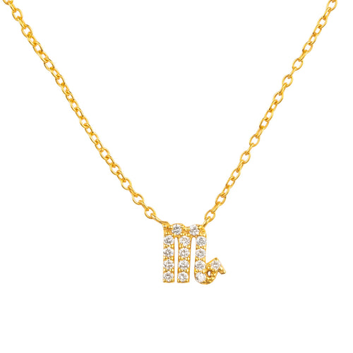 Diamond Zodiac Necklace Gold Scorpio