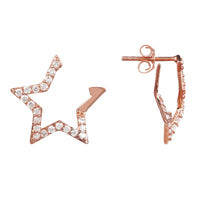 Diamond Open Star Earrings Rosegold