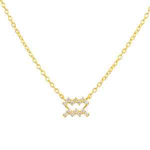 Diamond Zodiac Necklace Gold Aquarius