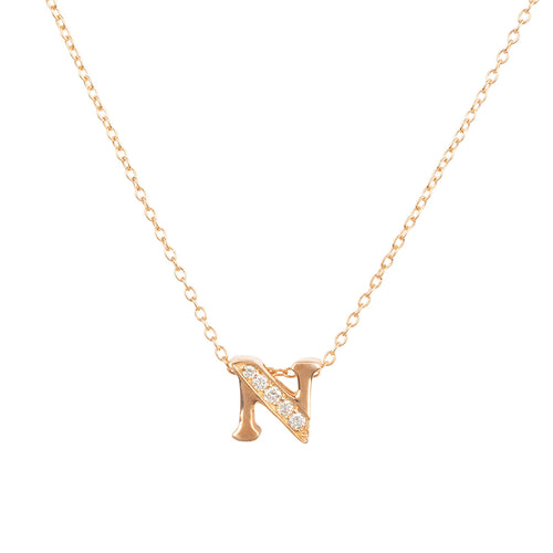 Diamond Initial Letter Pendant Necklace Rose Gold N