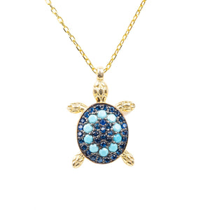 Turquoise Turtle Pendant Necklace Gold