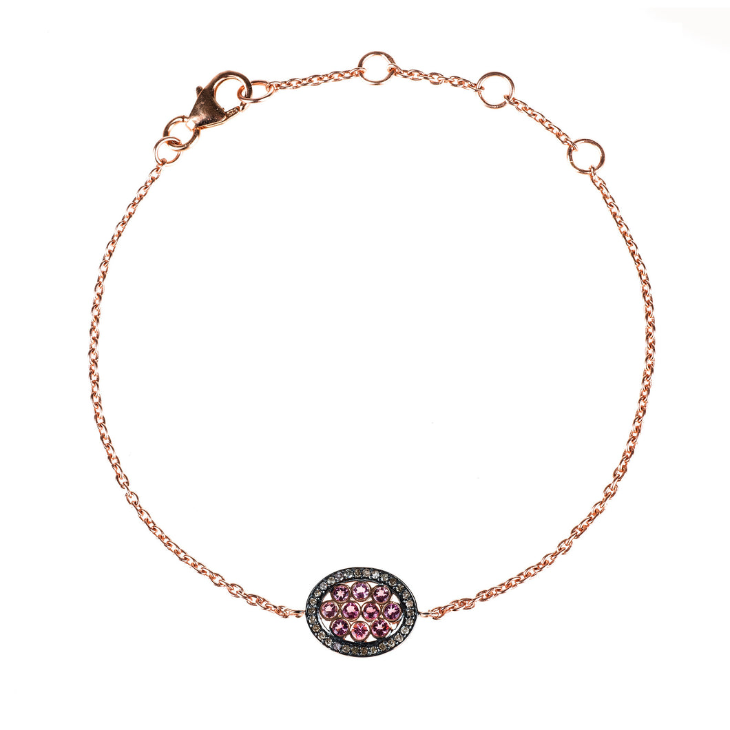 Diamond Oval Pink Tourmaline Bracelet