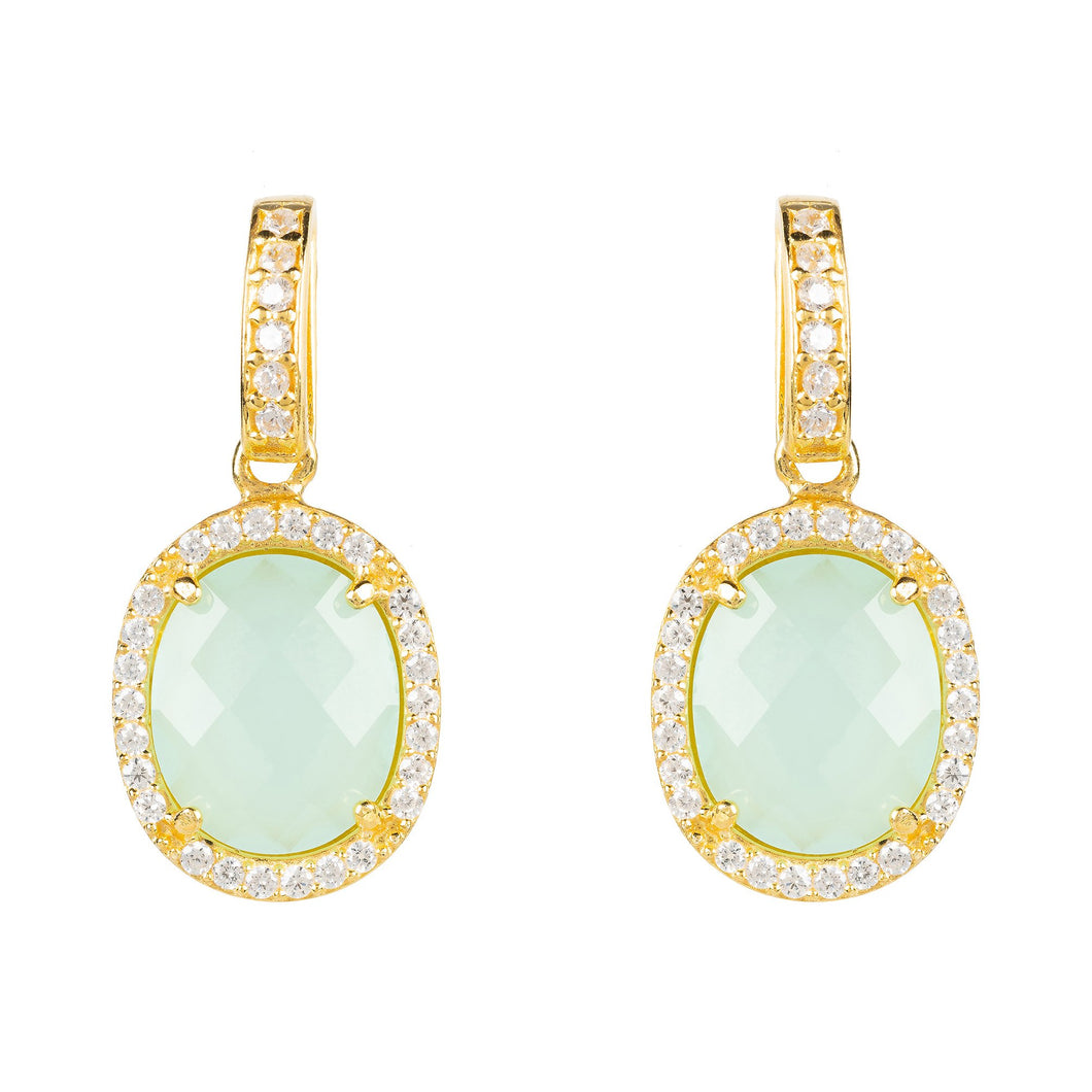Beatrice Earrings Gold Aqua Chalcedony