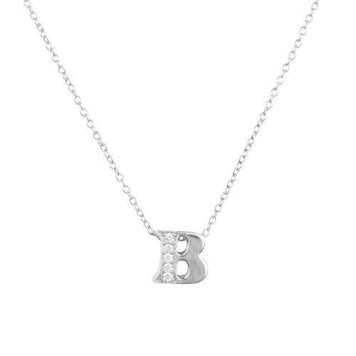 Diamond Initial Letter Pendant Necklace Silver B