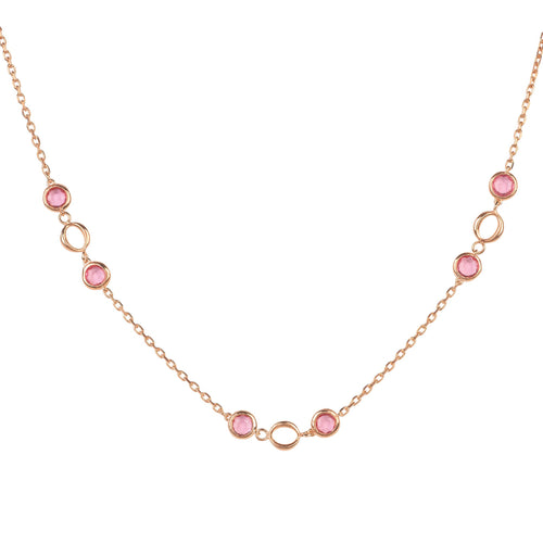 Milan Link Gemstone Necklace Rose Gold Pink Tourmaline