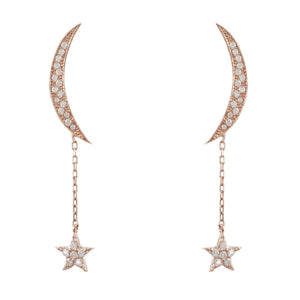 Moon and Star Earring Rosegold White CZ