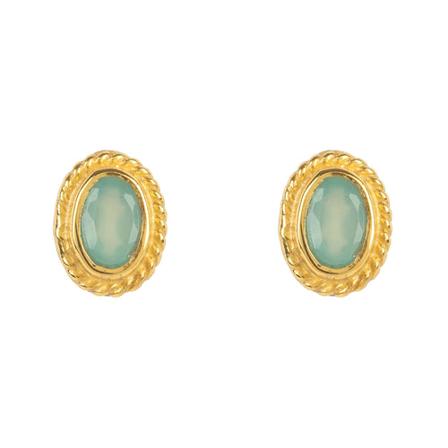 Gold Gemstone Birthstone Stud Earring  March Aqua Chalcedony