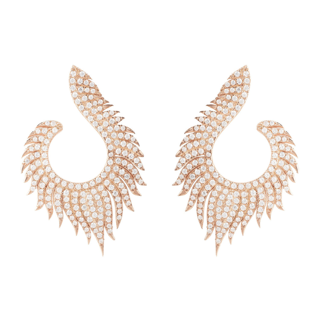 Flame Hoop Earrings Rosegold