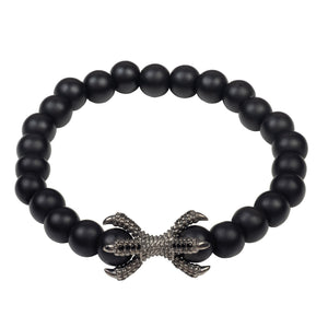 The Claw Oxidised Sterling Silver Mens Matte Black Bracelet