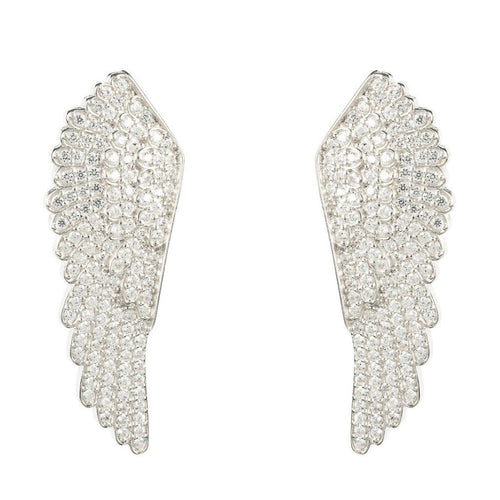 925 Sterling Silver Large Angel Wing Earrings