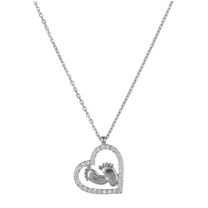 Heart Mum Pendant Necklace Silver