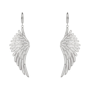Angel Wing Drop Earring Silver White