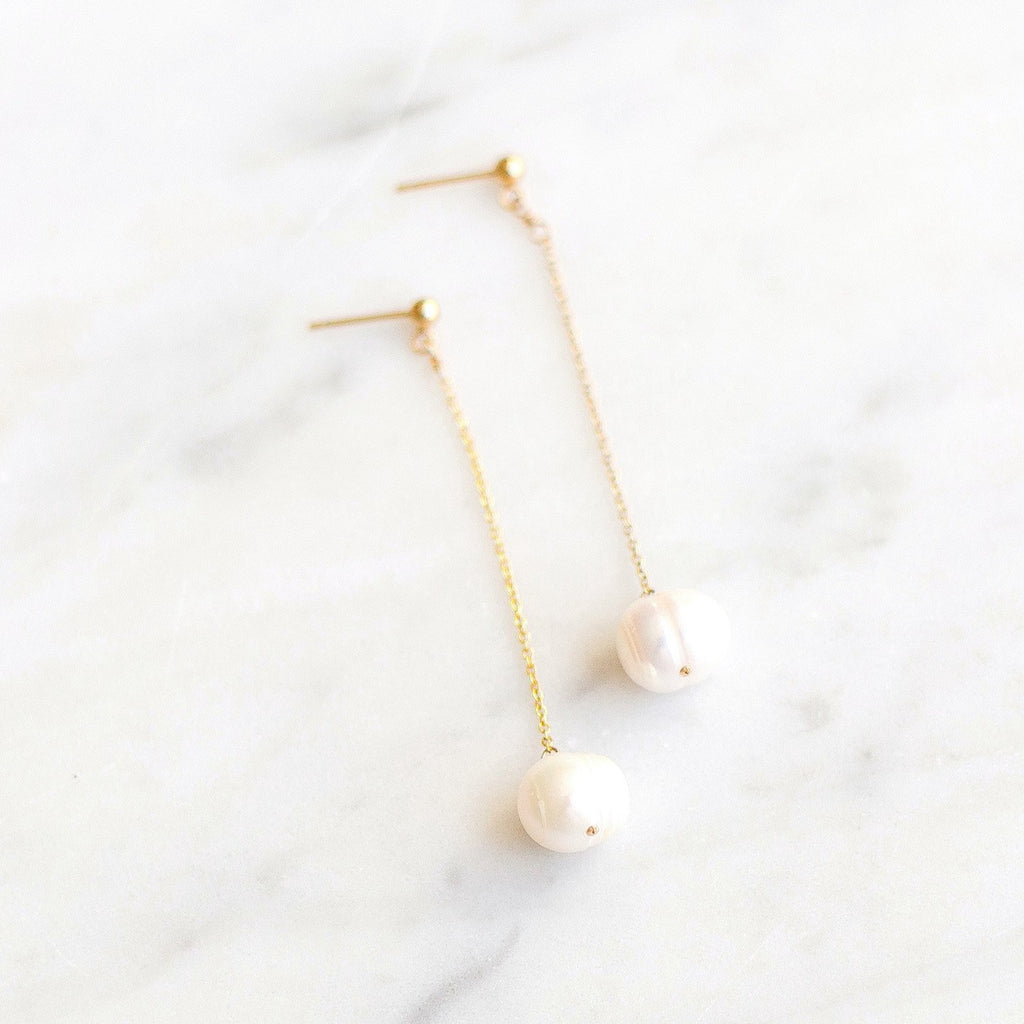 Totality Earrings with Fresh Water Pearl - Amelia Lawrence Jewelry