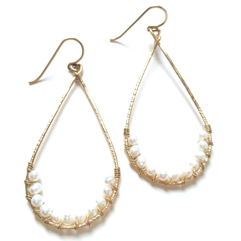 Angela Earrings - Fresh Water Pearls - Amelia Lawrence Jewelry