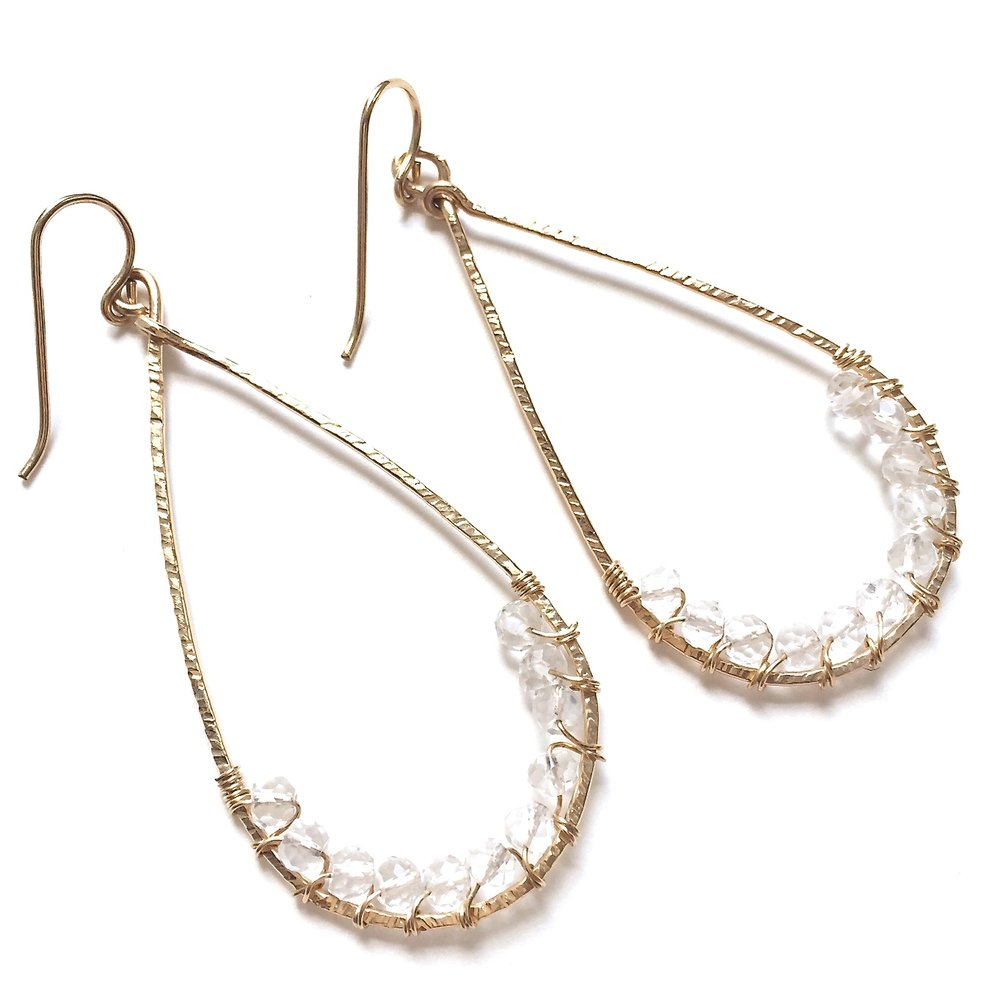 Angela Earrings - Clear Quartz - Amelia Lawrence Jewelry