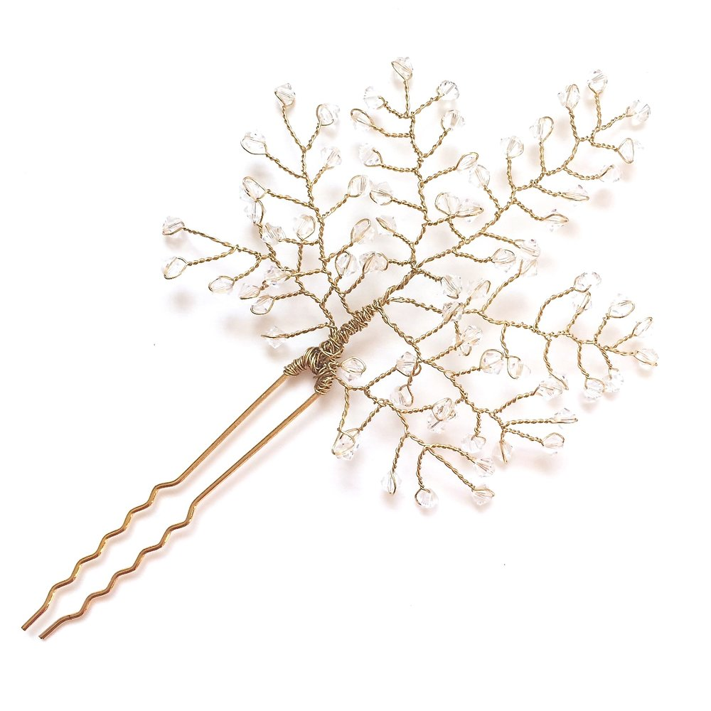 Swarovski Crystal Branch Hair Pin - Made to order - Amelia Lawrence Jewelry