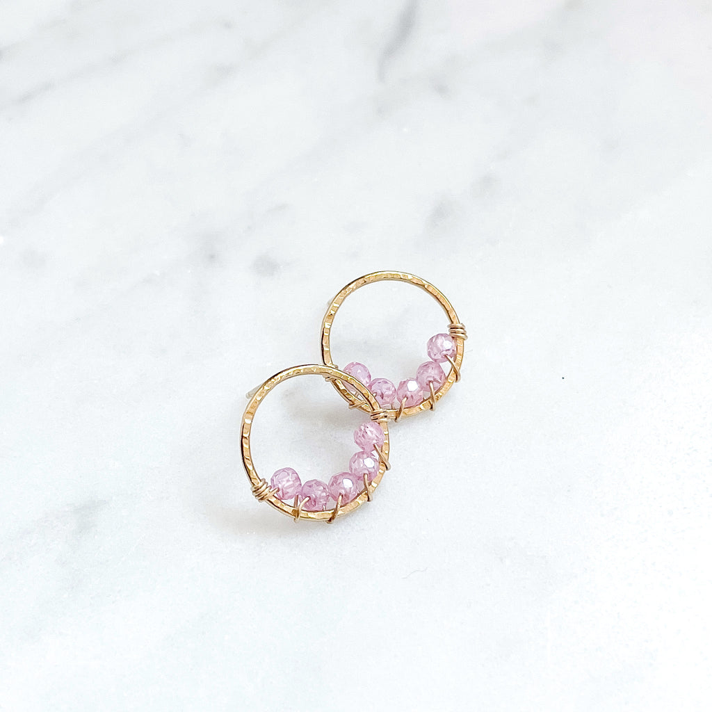 Large Pixie Posts - Pink Zircon - Amelia Lawrence Jewelry