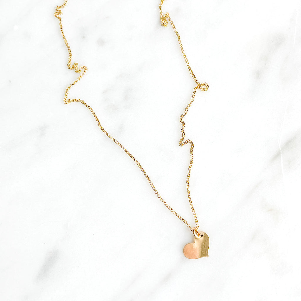 Heart Drop Initial Necklace - Amelia Lawrence Jewelry
