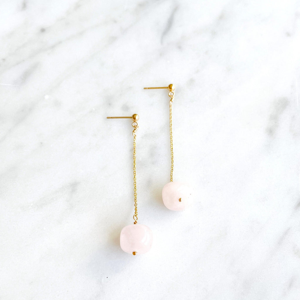 Totality Earrings with Rose Quartz - Amelia Lawrence Jewelry