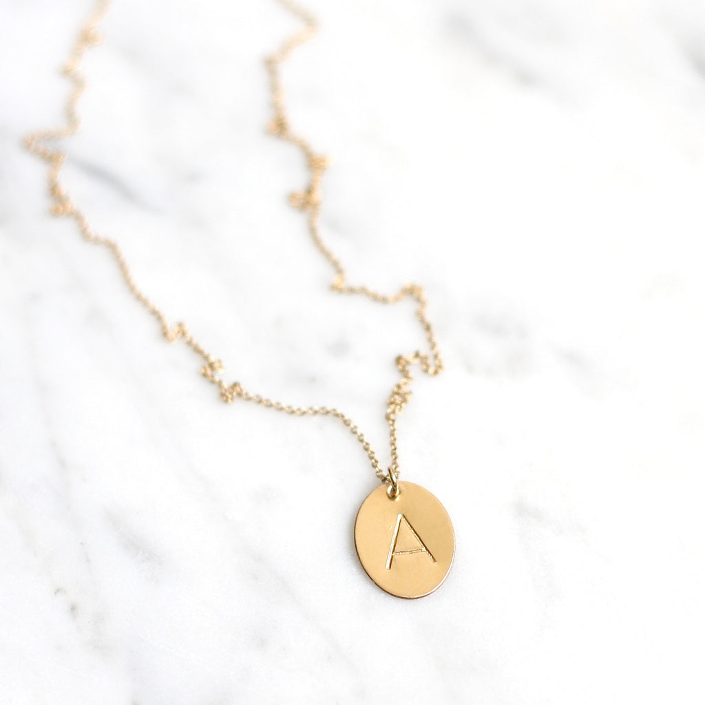 Oval Initial Necklace - Amelia Lawrence Jewelry