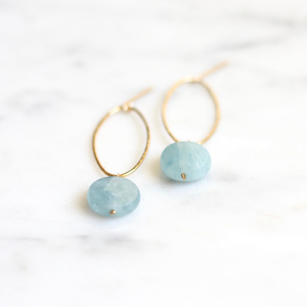 Belle Hoops - Aquamarine Coin - Amelia Lawrence Jewelry
