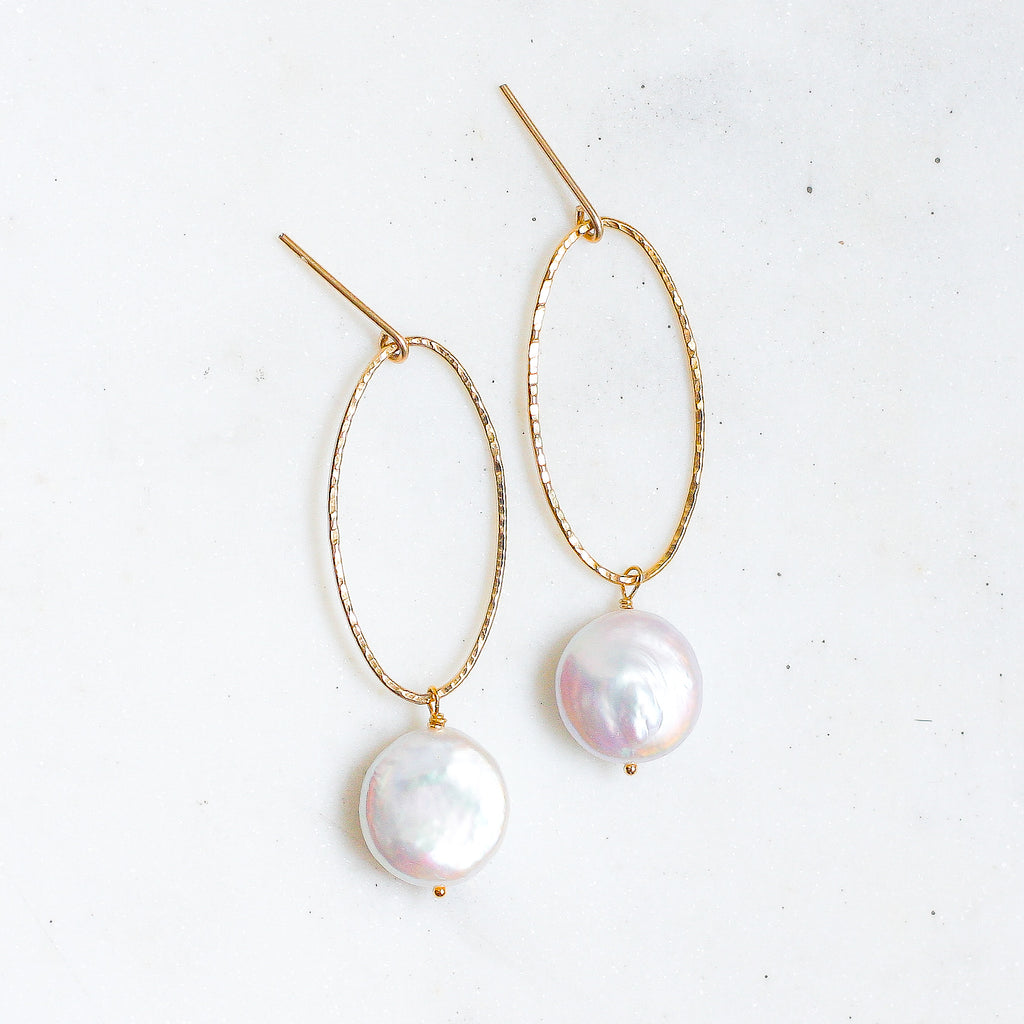 Belle Hoops - Fresh Water Coin Pearl - Amelia Lawrence Jewelry