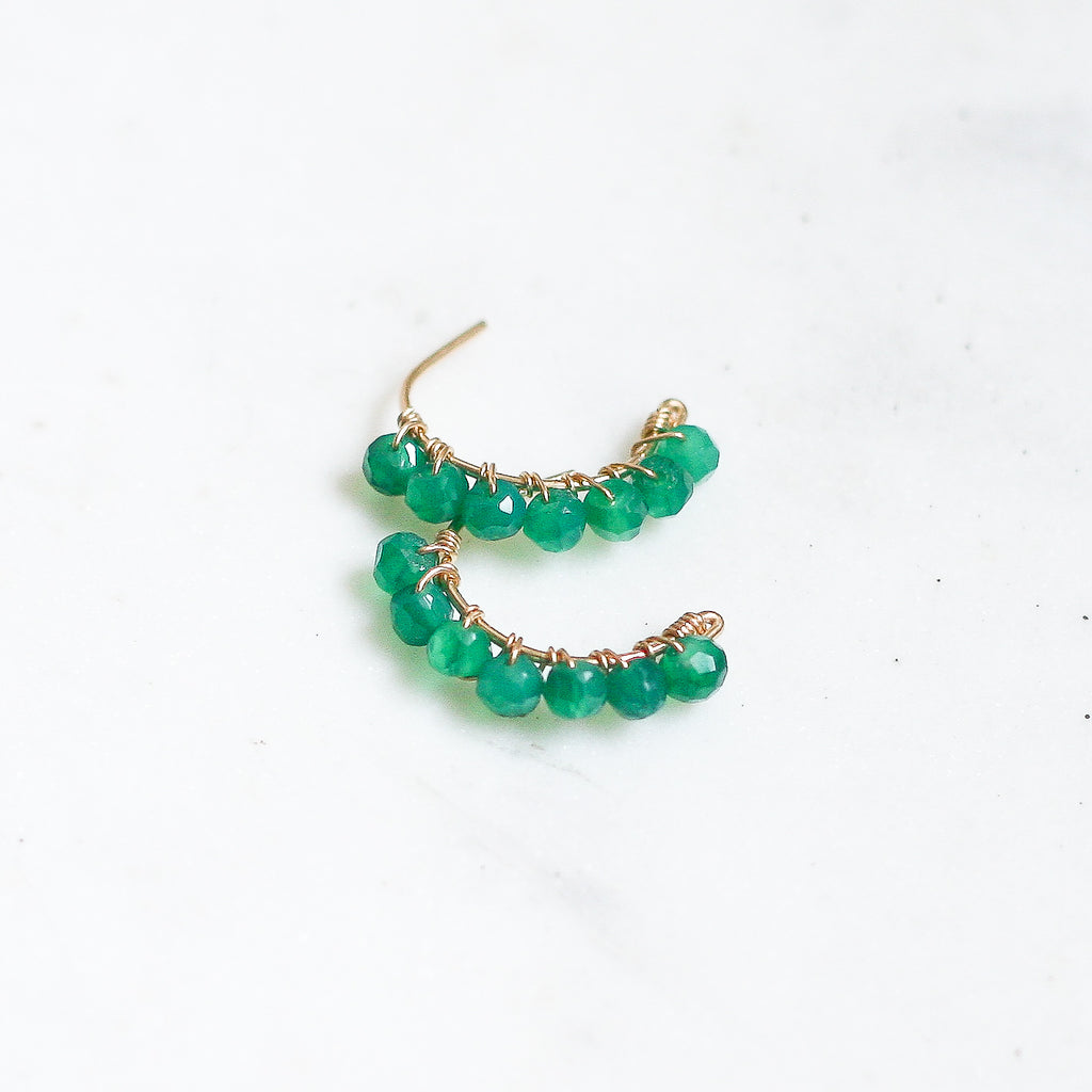 Heather Hoop Studs - Green Onyx Large - Amelia Lawrence Jewelry