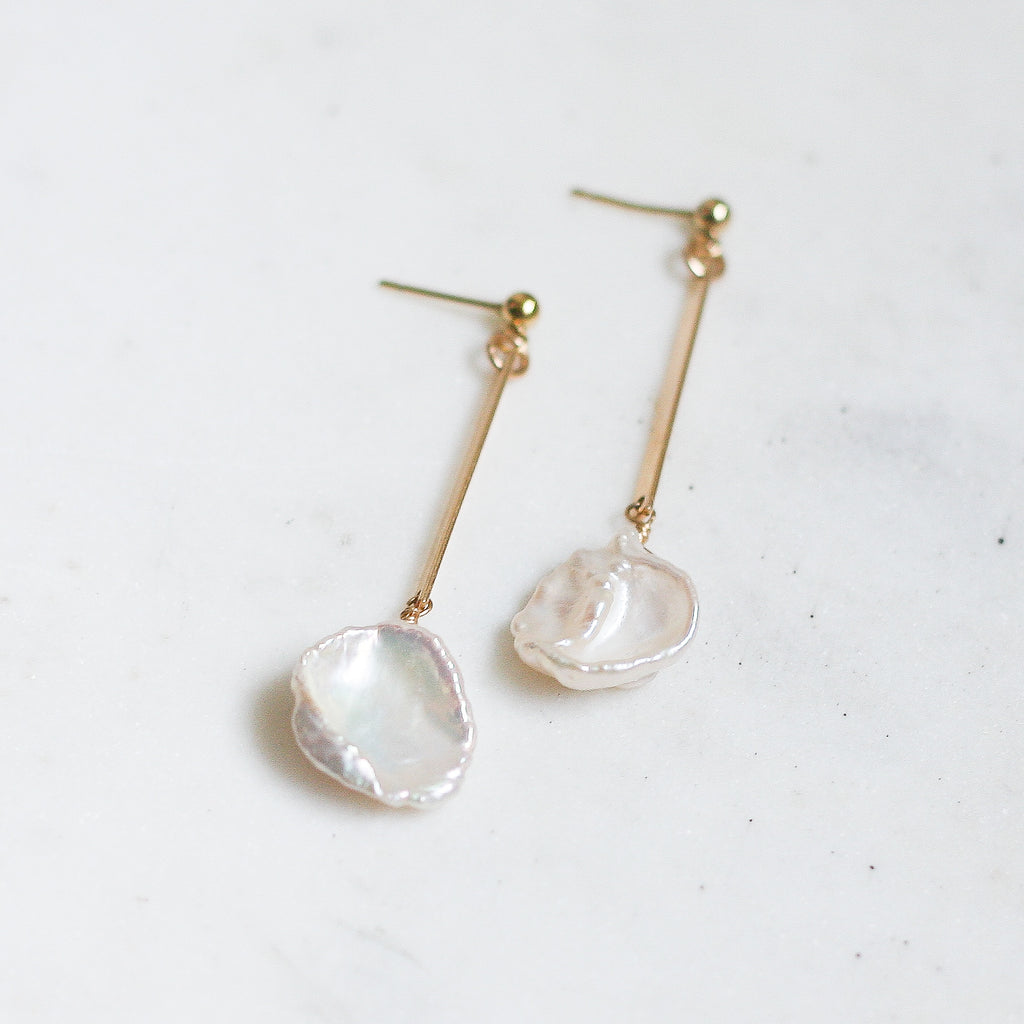 Iris Earrings - Keshi Pearls - Amelia Lawrence Jewelry