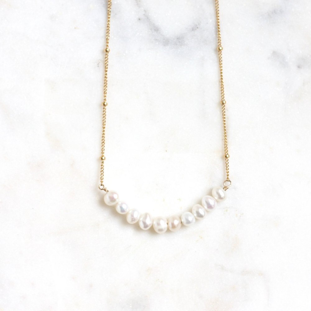Anna Necklace - Fresh Water Pearl Ball Chain WS - Amelia Lawrence Jewelry