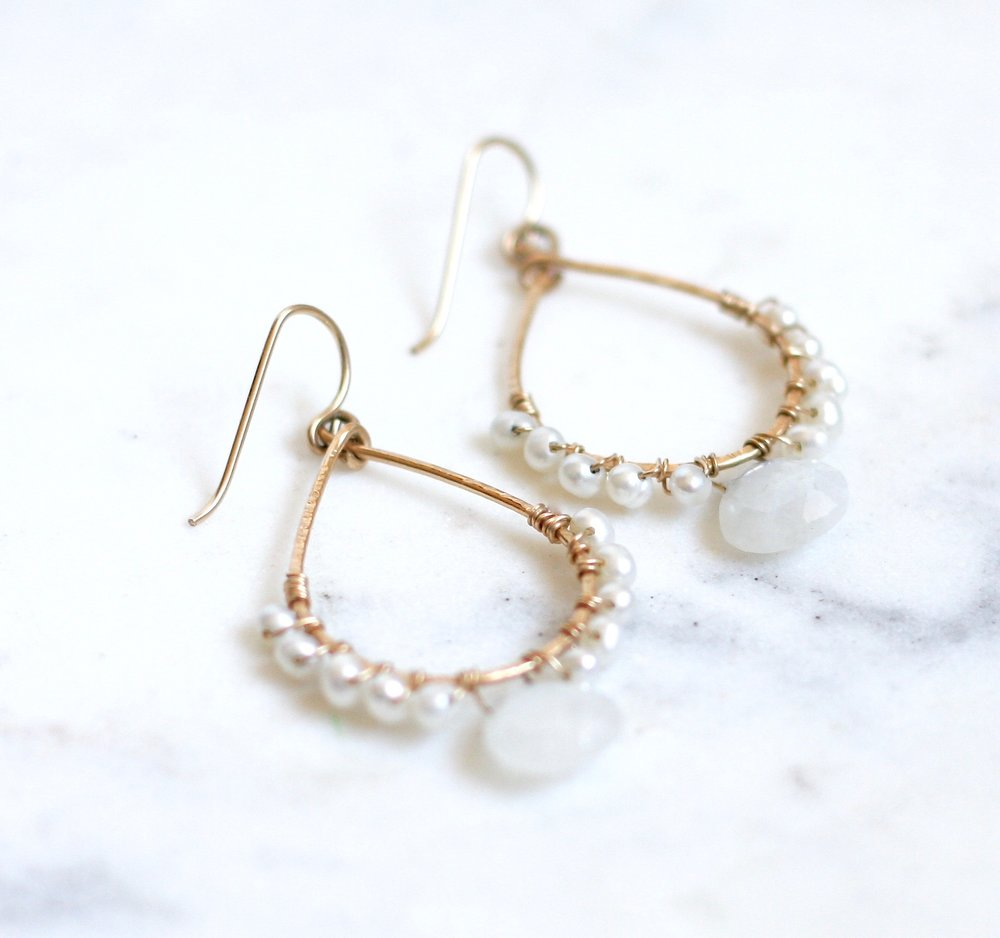 Renee Hoops - Moonstone & Pearls - Amelia Lawrence Jewelry