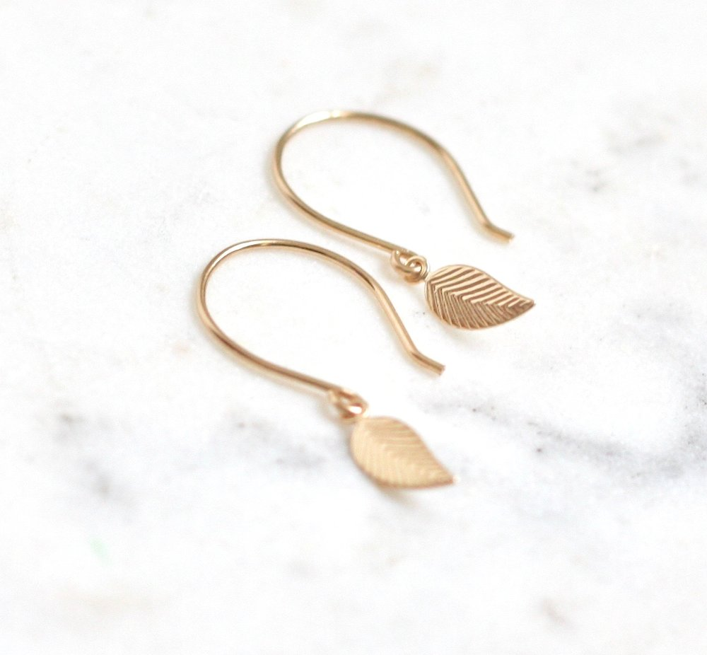 Dainty Leaf Earrings - Amelia Lawrence Jewelry