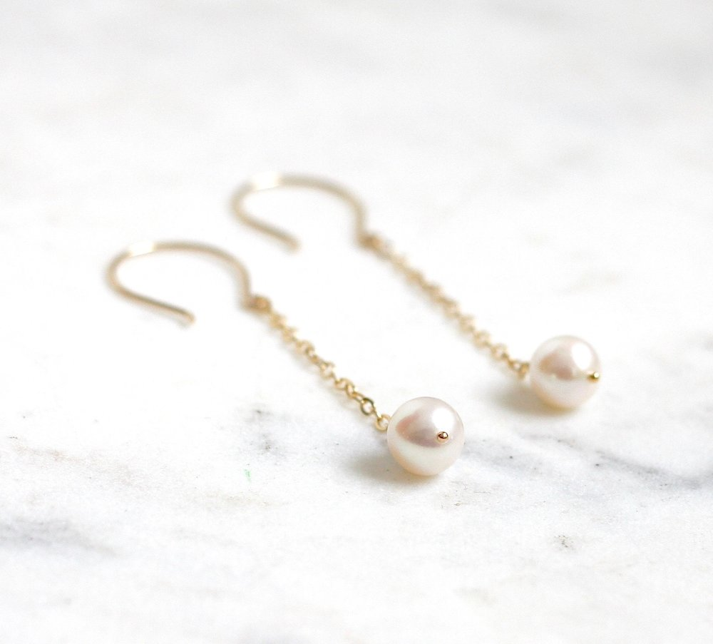 Suzanne Dangle Earrings - Pearl WS - Amelia Lawrence Jewelry