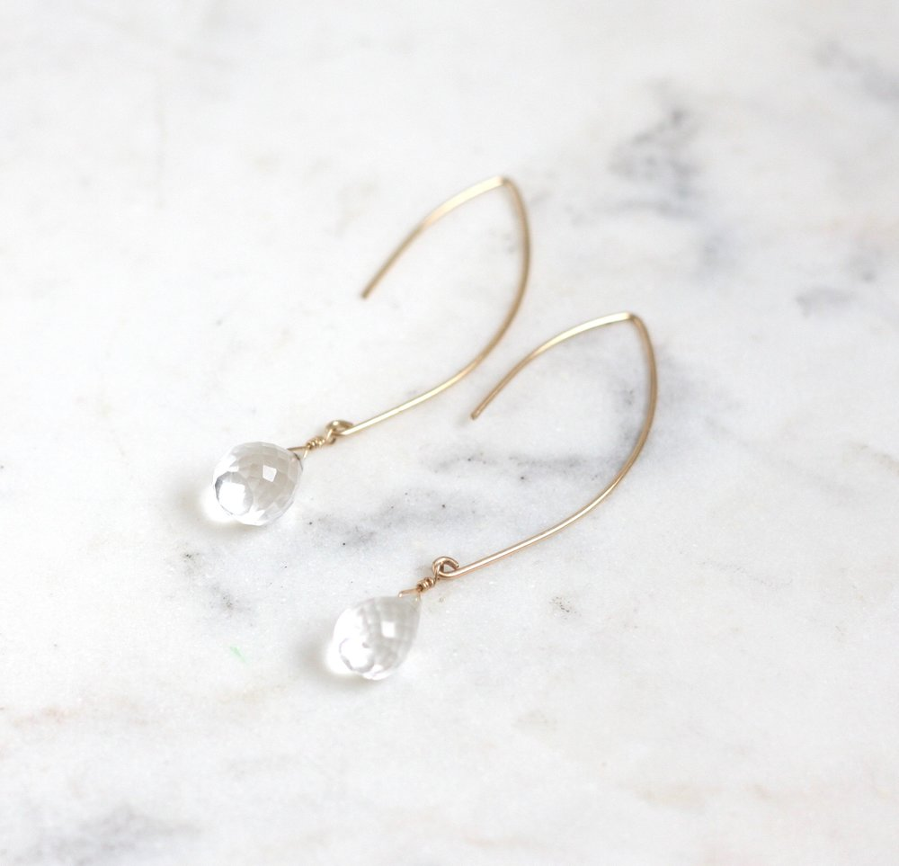 Amelia Earrings - Crystal Quartz - Amelia Lawrence Jewelry