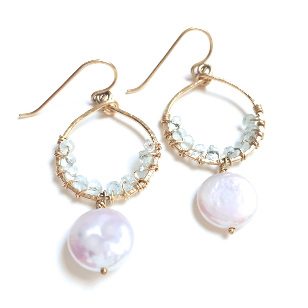 Perfect Pair - Pearl & Aquamarine - Amelia Lawrence Jewelry