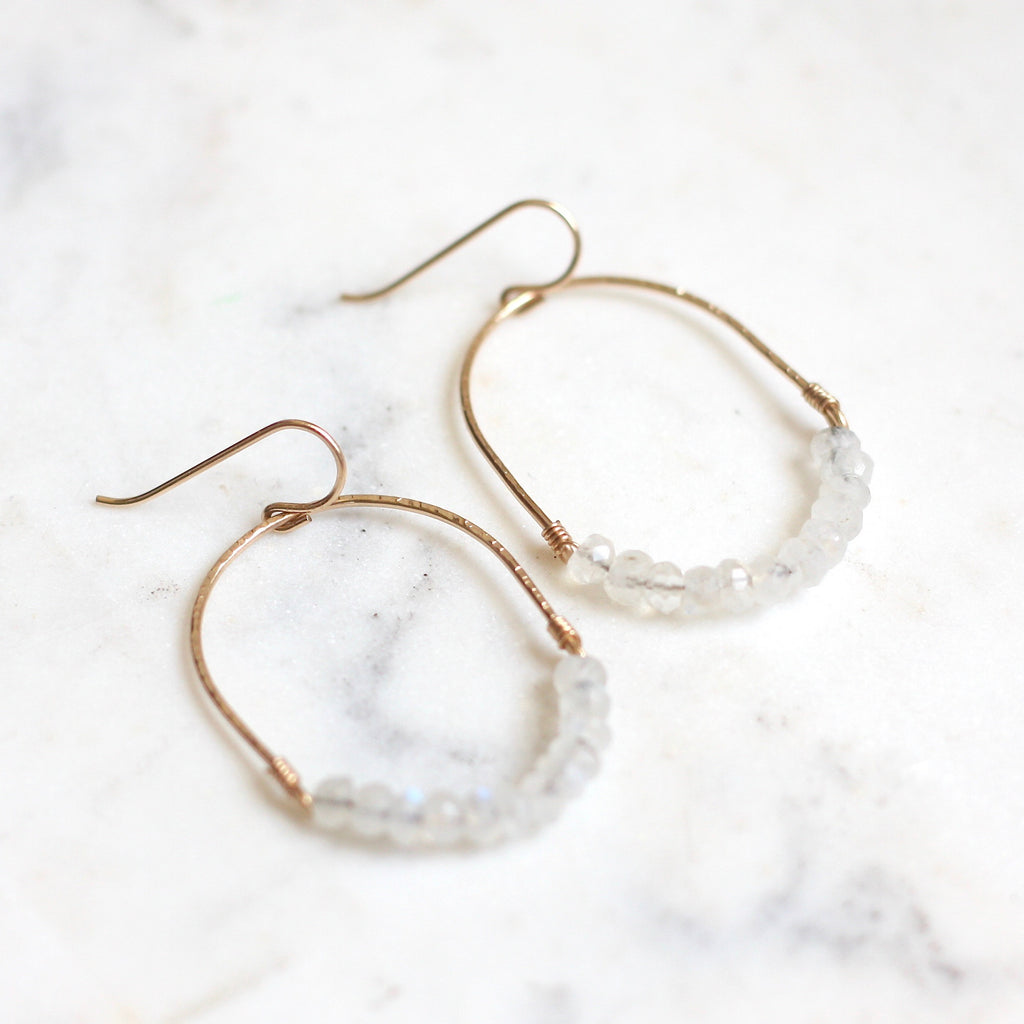 Luna Hoops - Rainbow Moonstone - Amelia Lawrence Jewelry