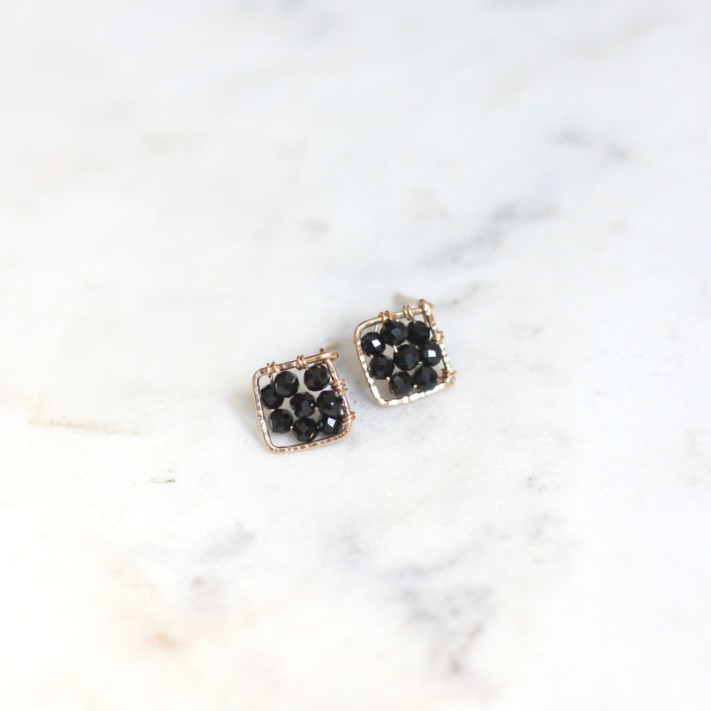 Pixie Posts - Square Black Spinel - Amelia Lawrence Jewelry