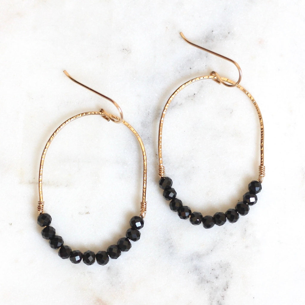Luna Hoops - Black Spinel - Amelia Lawrence Jewelry