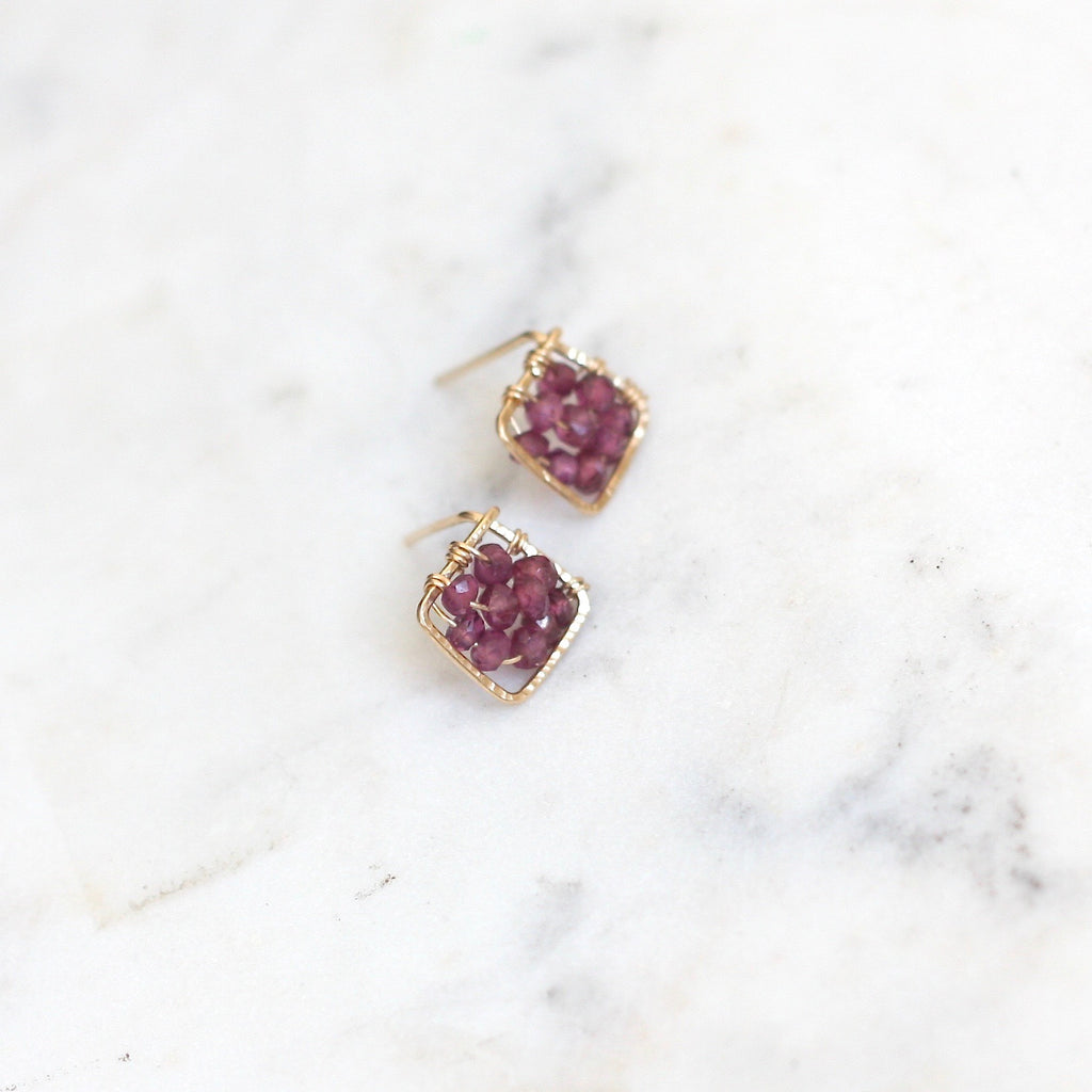 Pixie Posts - Square Garnet - Amelia Lawrence Jewelry
