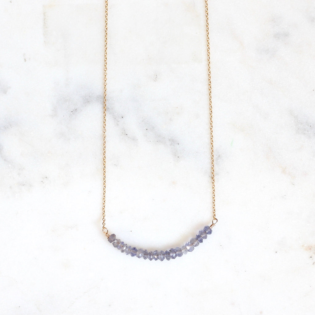 Anna Curved Bar Necklace - Iolite WS - Amelia Lawrence Jewelry