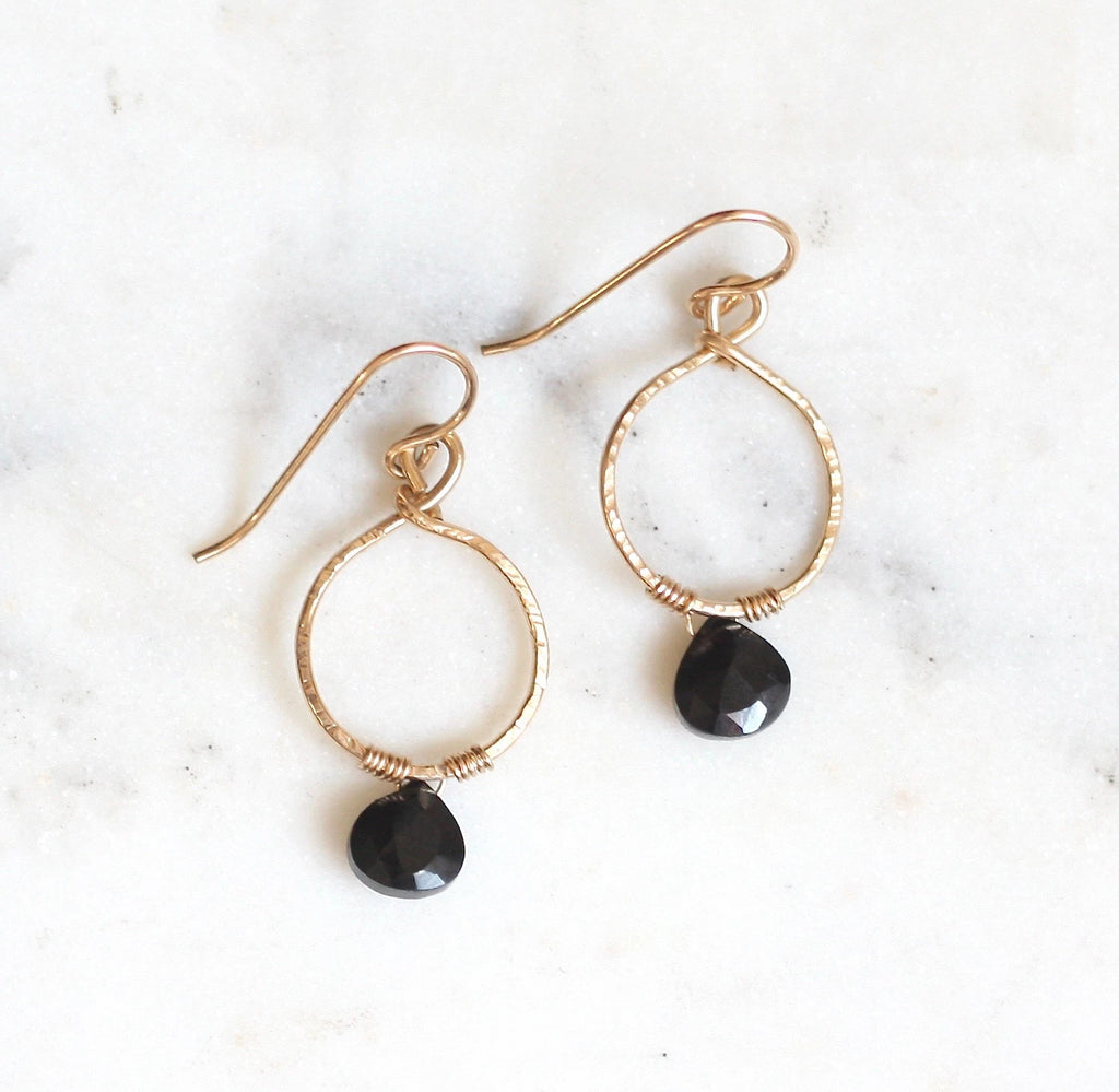 Emma Hoops - Black Spinel - Amelia Lawrence Jewelry