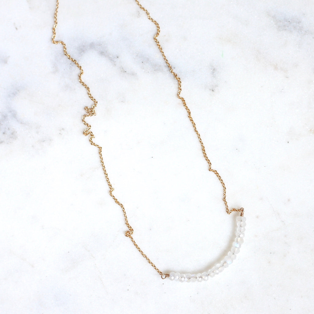 Anna Necklace - Rainbow Moonstone - Amelia Lawrence Jewelry