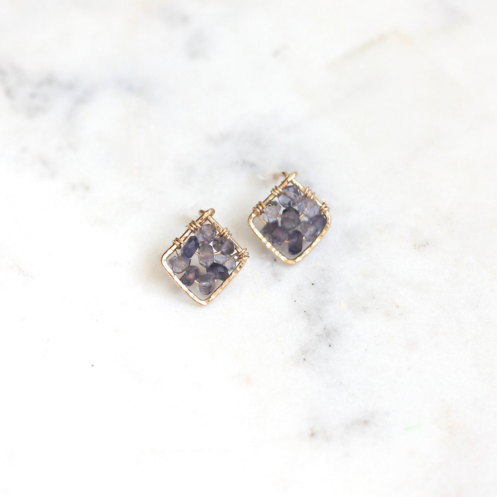 Pixie Posts - Square Iolite - Amelia Lawrence Jewelry
