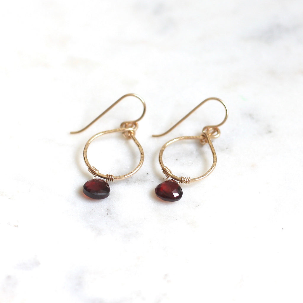 Emma Hoops - Garnet - Amelia Lawrence Jewelry